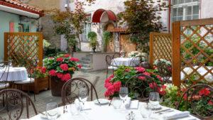 Restaurant terrace I Schlössle hotel in Tallinn Old Town